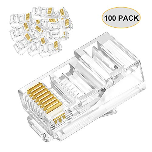 100-pack RJ45 Conductor Data Cable connectors Cat6 Cat5E Connector Network Cable Plug Crystal 8P8C RJ45 Ends Ethernet Cable Crimp Connectors for Indoor UTP Cable