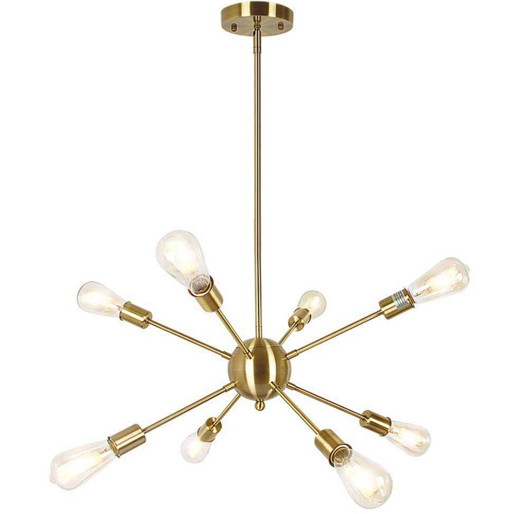Lampundit Sputnik Chandelier 8 Light Brass Modern Pendant Lighting Gold Industrial Vintage Ceiling Light Fixture for Kitchen Dining Room Living Room Foyer by Lampundit