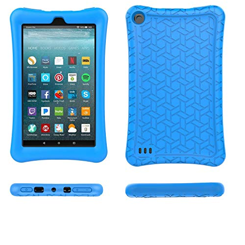 TIRIN Fire 7 2019/2017 Case - Light Weight Shock Proof,Anti-Slip Soft Silicone Back Cover Case for All-New Amazon Fire 7 Tablet(9th/ 7th Generation, 2019/2017 Release), Blue