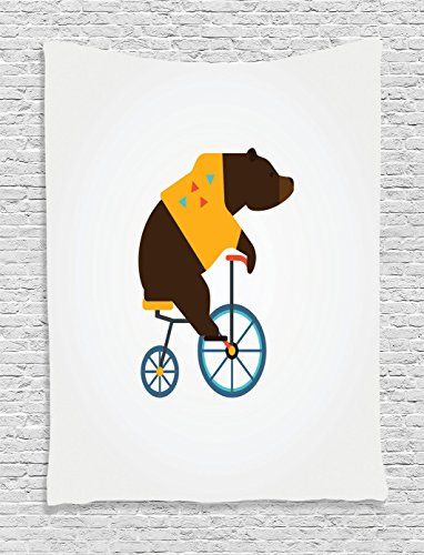 [Bicycle Decor Tapestry Wall Hanging by Ambesonne, Big Teddy Bear Icon of Circus Riding Bicycle with Trendy Hipster Costume Animal Image, Bedroom Living Room Dorm Decor, 60 x 80 Inches, Brown Yellow] (Female 80's Icons Costume Ideas)