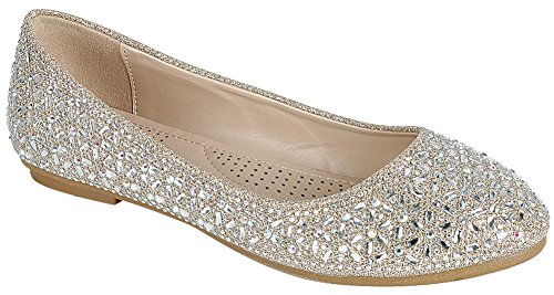 Cambridge Velg Et Dame Lukket Rund Tå Krystall Rhinestone Glitter Slip-on Ballet Flat Champagne