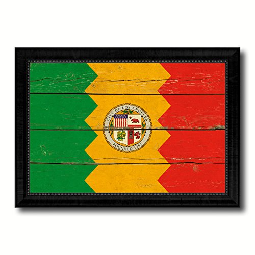 (Los Angeles City California State Flag Vintage Canvas Print Black Picture Frame Home Decor Wall Art Gifts - 27