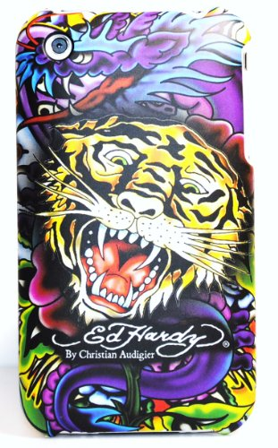 New Ed Hardy Yellow Tiger By Christian Audigier Snap on Hard Rubber Texture Skin Back Cover Case for Apple Iphone 3G 3Gs + Premium Lcd Screen Guard in Original Box