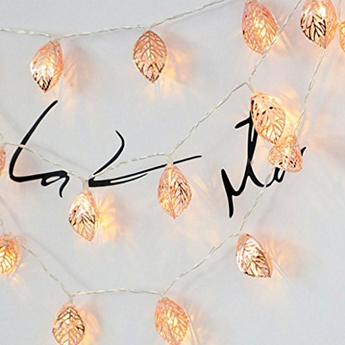 2M 10 Tress Leaves LED String Light, Dirance Indoor Outdoor Fairy Iron Night Light Lamp Festival Party Wedding Girl Bedroom Home Decor (Gold) by Dirance (Image #2)