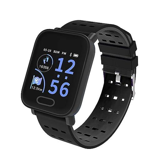 Reloj Inteligente para Hombres Mujeres Bluetooth Smart Wristwatch Teléfono Mate Pantalla Redonda Completa SIM para Android para iOS (Negro): Amazon.es: ...
