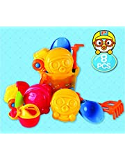 11pcs Pororo Big Sand Bucket Water Play Toys for Kids , Indoor Outdoor Toy for Children Iconix Korea, Multicolor