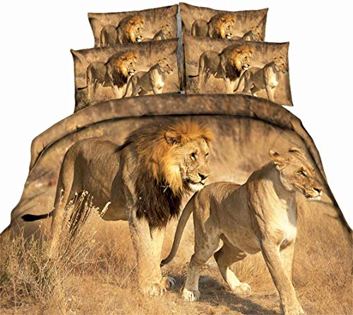 cute lion couple walking bedding set