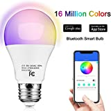 outdoor light bulb timer - Smart LED Bulb, Multicolour Dimmable, Timer/Music Mode Group Control Night Lighting, No Hub Required, 9W 810lm A19