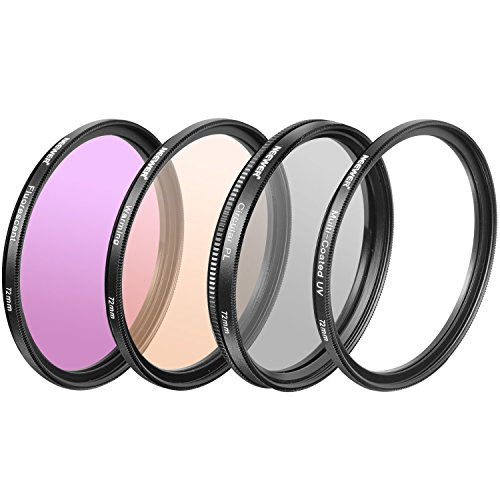Neewer 4 Pieces 72MM Professional Photography Lens Filter Kit for DSLR Camera, Includes: UV, CPL, FLD,Warming Filter,Made of HD Optical Glass and Aluminum Alloy