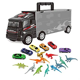 iLifeTech Car Toys Die cast Transport Carrier Truck Dinosaur Toys for 3-12 Years Old Boys Girls(Includes 12pcs Dinosaur Toy,6 pcs car Toy, 1pcs Big Truck Toy)