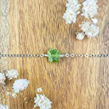 "Raw peridot crystal nugget anklet in 925 sterling silver - 8"" chain with 2"" adjustable extender - August birthstone"
