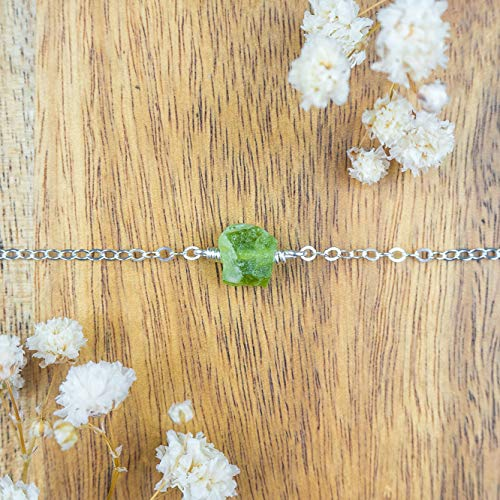 Raw peridot crystal choker necklace in 925 sterling silver - 12