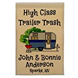 Happy Camper World High Class Trailer Trash Personalized Campsite Flag, Customize Your Way (Blue Trim) Review