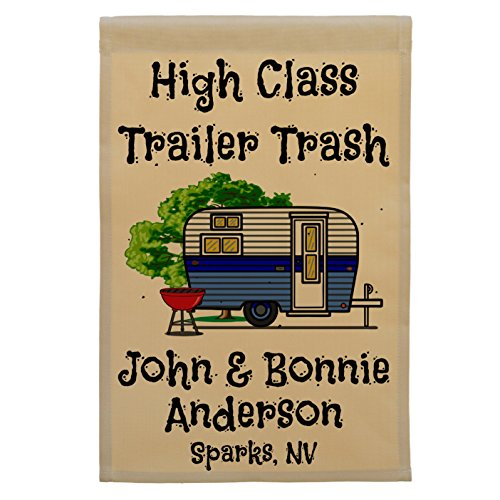 Happy Camper World High Class Trailer Trash Personalized Campsite Flag, Customize Your Way (Blue Trim)