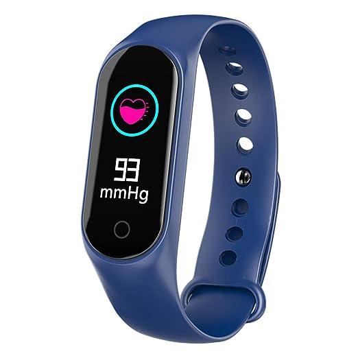 Denret3rgu Reloj Inteligente Deportivo M3S Presión Arterial Oxígeno Podómetro Rastreador de Ejercicios Monitor de sueño Pulsera - Azul: Amazon.es: Relojes