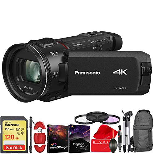 Panasonic HC-WXF1 UHD 4K Camcorder with Twin & Multicamera Capture - Pro Travel Kit - 64GB Memory Card - Padded Backpack - Filters - and More!