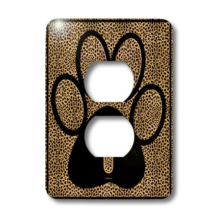3dRose lsp_25942_6 Letter I Standard Cheetah Print Cat Paw Outlet Cover, Multi-Color (Cheetah Print Light Switch Cover)