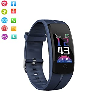 Teepao IP67 Fitness Tracker, QS100 Smart Watch Monitor de presión Arterial con Monitor de Ritmo cardíaco Pantalla táctil de Color para Actividad ...
