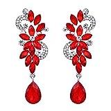 ruby crystal earrings - BriLove Women's Bohemian Boho Crystal Flower Wedding Bridal Chandelier Teardrop Bling Long Dangle Earrings Ruby Color Silver-Tone