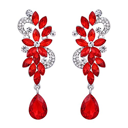 BriLove Women's Wedding Bridal Dangle Earrings Bohemian Boho Crystal Flower Chandelier Teardrop Bling Earrings Ruby Color Silver-Tone ()