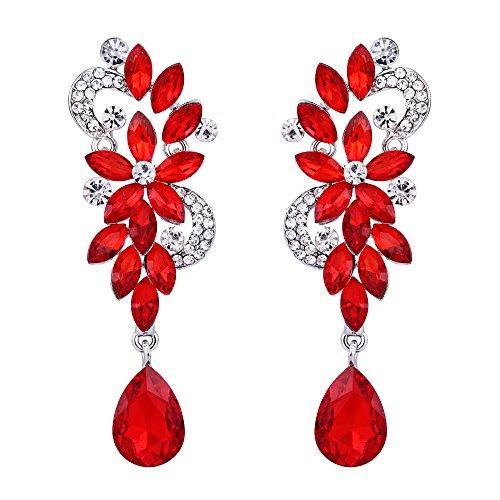 BriLove Women's Wedding Bridal Dangle Earrings Bohemian Boho Crystal Flower Chandelier Teardrop Bling Earrings Ruby Color Silver-Tone -