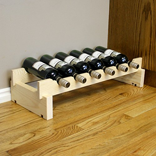 Creekside 6 Bottle Short Scalloped Wine Rack (Pine) by Creekside - Easily stack multiple units - hardware and assembly free. Hand-sanded to perfection!, Pine (Scalloped Wine Rack)