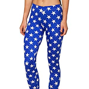 Happy Cool Women's High Waist White Star Printed Ankle Elastic Tights Legging