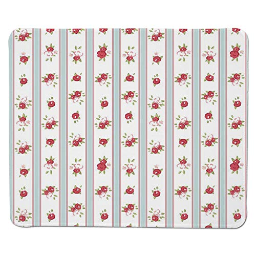 SCOCICI Gaming Locking Mouse Pad,Vertical Borders Cute Rose Blossoms Cottage Country Home Customized Rectangle Non-Slip Rubber Mousepad Gaming Mouse Pad -