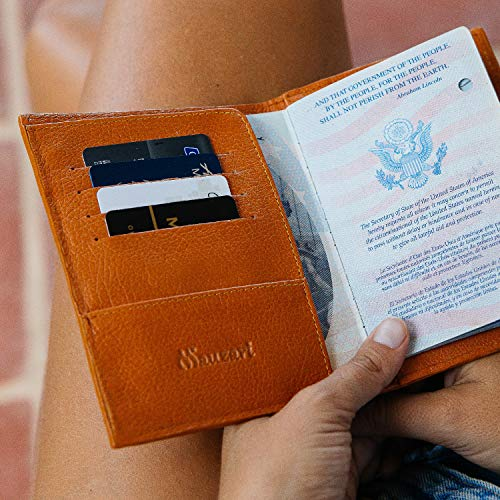 Mauzari Leather Passport Holder for Men and Women - Travel Wallet with Floral and Paisley Designs
