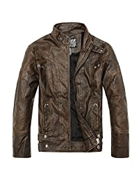 URBANFIND Men's Slim Wear Thick Fleece Motorcycle Faux Leather Outerwear Jacket