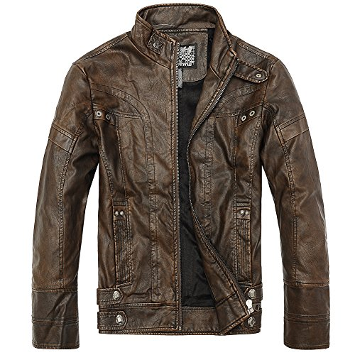Men's Slim Wear Faux Leather Jacket