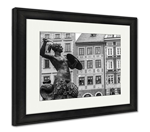 Ashley Framed Prints Mermaid in Warsaw, Wall Art Home Decoration, Black/White, 26x30 (Frame Size), Black Frame, AG5924746