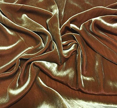 Iridescent Golden Red - Silk Velvet Fabric