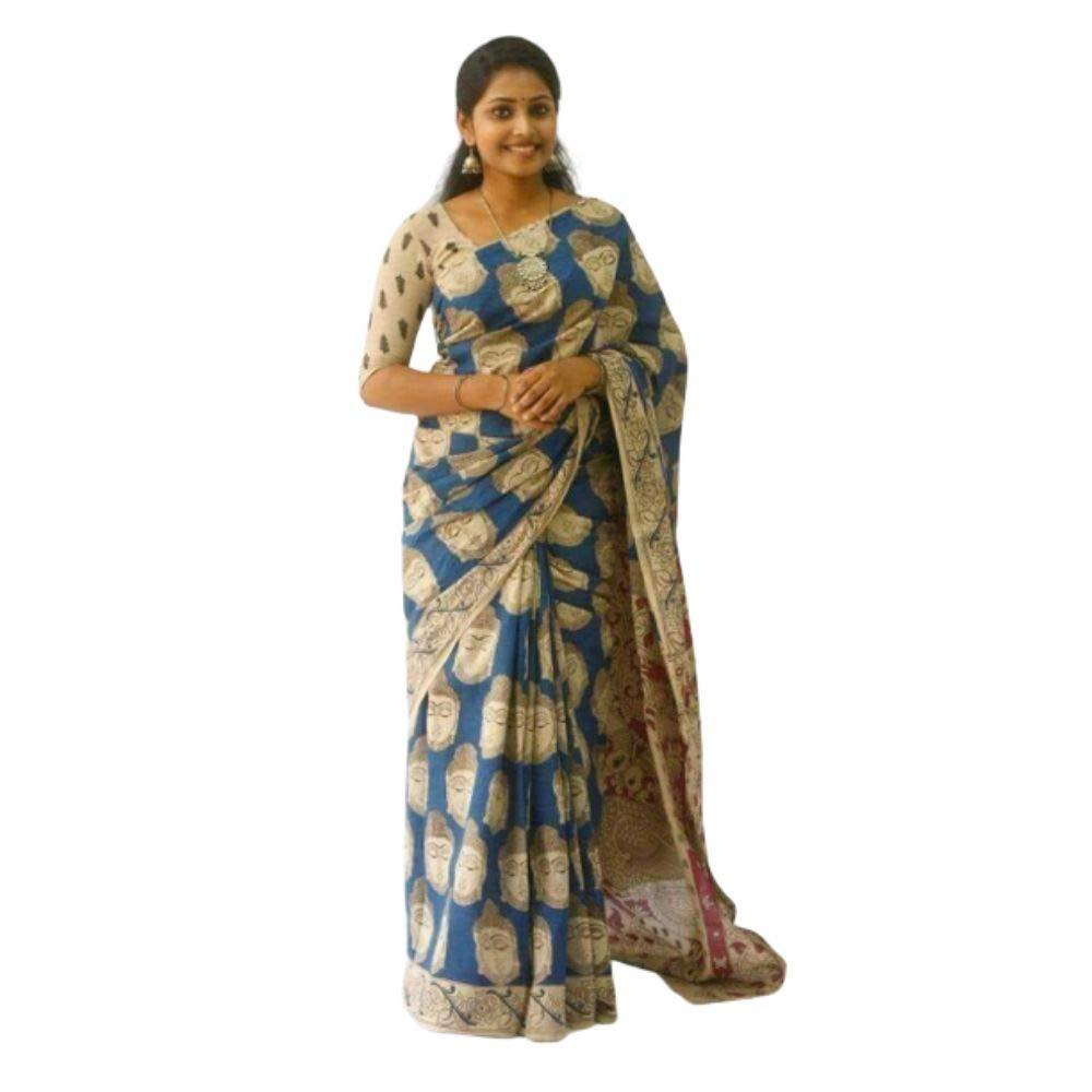 Buy Shilpa Fashion Women S Linen Patola Digital Prints Saree Sf 10 Blue At Amazon In