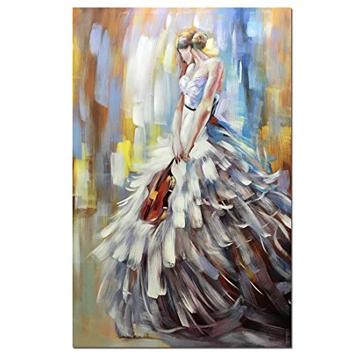 V-inspire Art, 32x48 Inch Modern Abstract Artwork Violin Girl Canvas Painting Wall Art Home Decorations Wall Décor Stretched Frame Ready to Hang