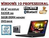 Dell Inspiron 15 5000 Series 5566, 15.6'' HD Business Laptop ( 2018 Edition ) - Intel Core i7-7500U Processor - 16GB DDR4 RAM - 512GB SSD - DVDRW - WiFi+Bluetooth - Windows 10 Professional