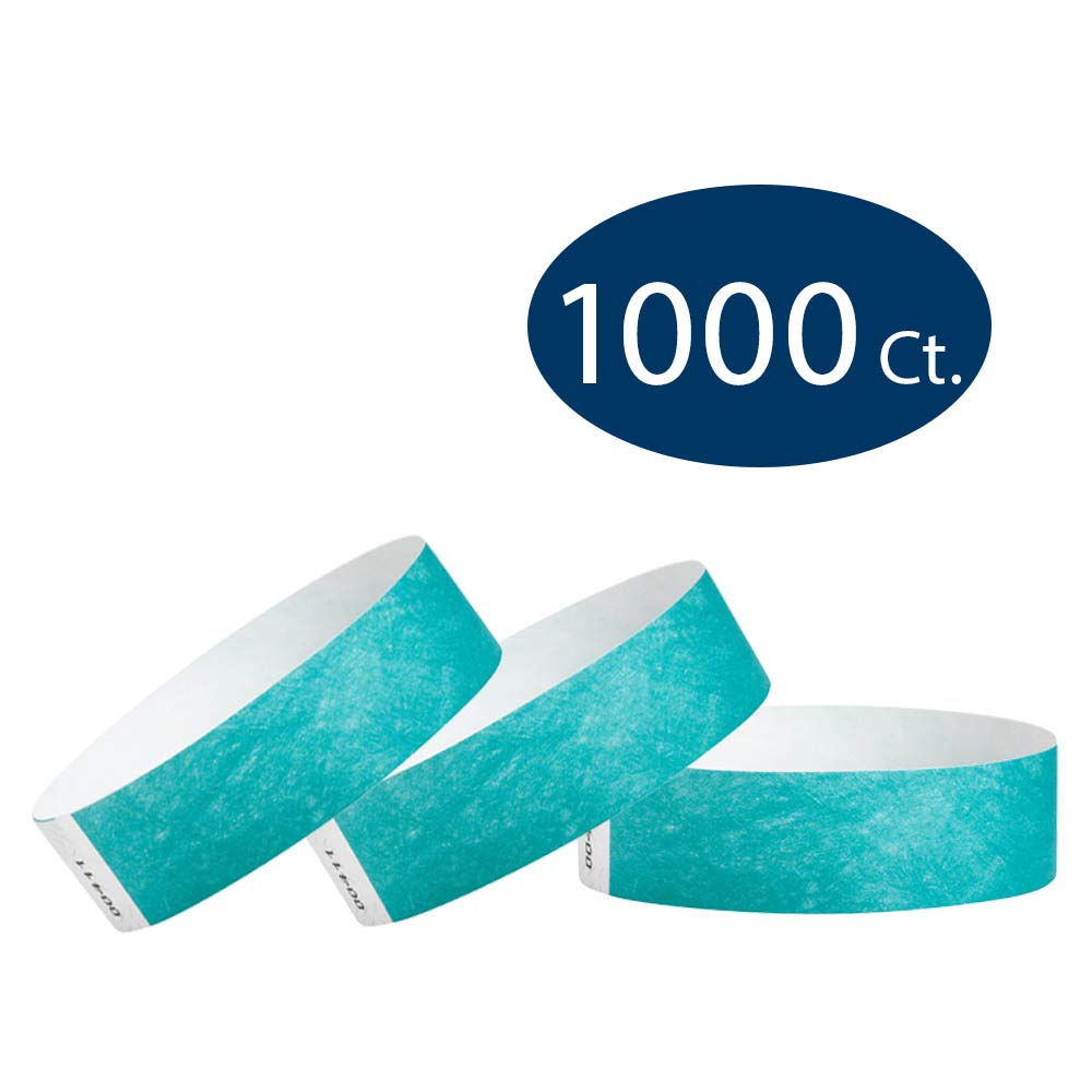 WristCo Caribbean Blue 3/4'' Tyvek Wristbands - 1000 Pack Paper Wristbands for Events by Wristco