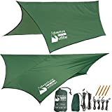Adventure Gear Outfitter Hammock Rain Fly Tent Tarp STRONG RIPSTOP NYLON - Includes Everything You Need for EASY SET UP.
