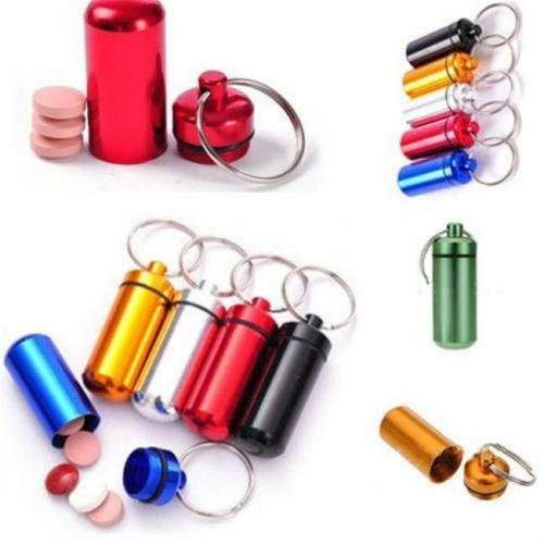 MAZIMARK--Best Sell Mini Emergency Pill Box Case Bottle Holder Container Keychain - Center Keys Outlet Florida