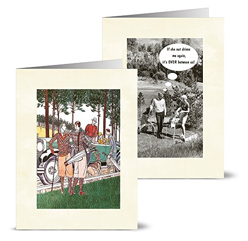 Vintage Golf - 36 Note Cards - 12 Designs - Blank Cards - Off-White Ivory Envelopes Included