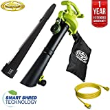 Sun Joe SBJ605E 14-Amp High Performance 3-in-1 Electric Blower, Vacuum, Mulcher w/Accessories All You Need Bundle with 25 Foot Outdoor Extension Cord and One Year Warranty Extension