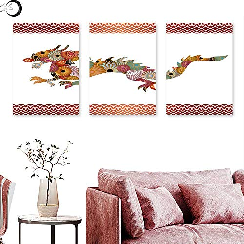 J Chief Sky Dragon Canvas Prints Wall Art Floral Ornamental Dragon Body Silhouette with Classic Japanese Wavy Folk Pattern Triptych Art Set Multicolor Triptych Art Canvas W 16