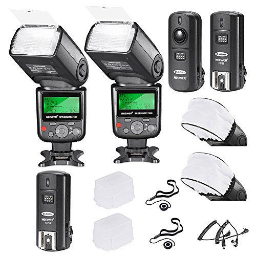 I-ttl Off Camera Flash (Neewer PRO i-TTL FlashDeluxe Kit for NIKON DSLR D7100 D7000 D5300 D5200 D5100 D5000 D3200 D3100 D3300 D90 D800 D700 D300 D300S D610, D600, D4 D3S D3X D3 D200 N90S F5 F6 F100 F90 F90X D4S D SLR Camera- Includes: 2 Neewer Auto-Focus Flashes + Wireless Trigger(1 Transmitter, 2 Receivers) +N1-Cord & N3-Cord Cables + 2 Hard & 2 Soft Flash Diffusers + 2 Lens Cap Holders)