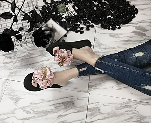AWXJX Tongs Femme Antidérapant usure extérieure station Fleurs Pink UGBjW90Sg