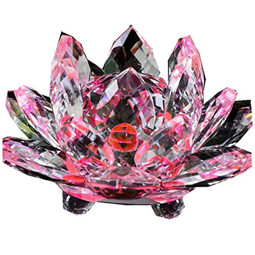 Hot Sale!!1PC Lotus Crystal Glass Collection Lotus Figure Paperweight (D)