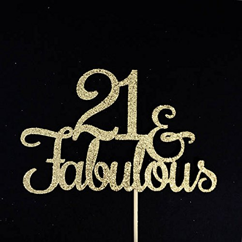 21 And Fabulous Cake Topper Glitter Birthday 21st Party Happy Twenty One Anniversary