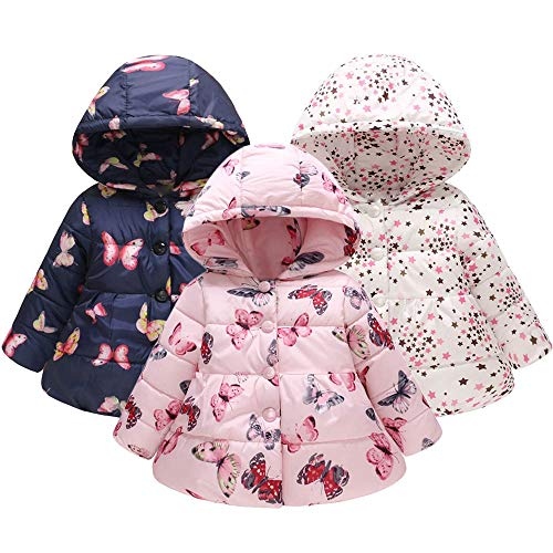 Baby Girl Boy Puffer Jacket for 1-4T,  Kids Lightweight Butterfly Stars Winter Thick Hooded Warm Outwear Overcoat (18-24 Months, Pink)