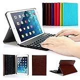 Ipad Mini 1/2/3 Keyboard Case, Symbollife Dark Brown Folding PU Leather Folio Case Cover & Stand with Removable Bluetooth Keyboard For Apple iPad Mini 2 with Retina Display / the Newest iPad Mini 3 (2014 Version)