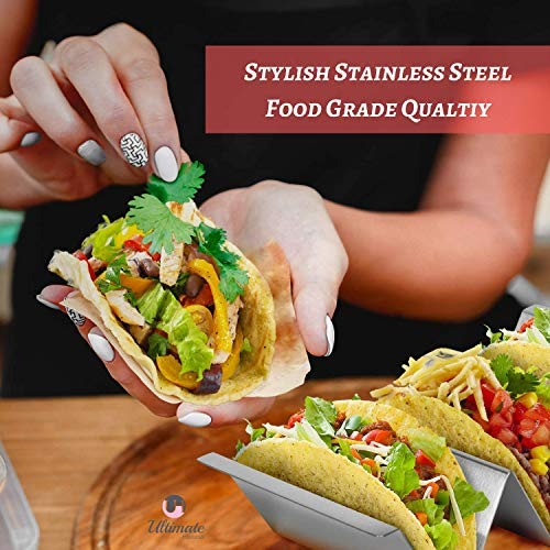 Taco Holder 4 Pack - Stainless Steel Taco Stand with No Slip Side Handles - Serve your Tacos, Fajita Mess Free - Metal Racks Holders for Taco Shell, Tortilla, Burrito And More. Oven And Grill Safe by Ultimate Hostess (Image #2)