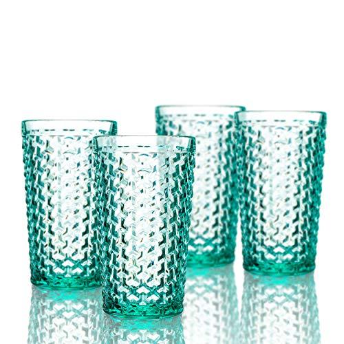 (Elle Decor 229803-4HBGR Bistro Weave 4 Pc Set Highball, Green-Glass Elegant Barware and Drinkware, Dishwasher Safe, 13.5 Oz, )